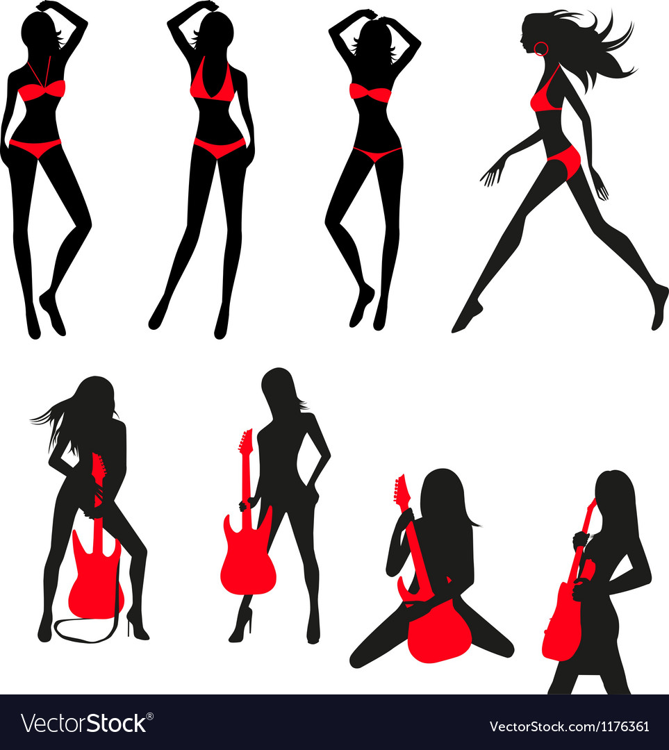 Silhouettes of girls set vector | Price: 1 Credit (USD $1)
