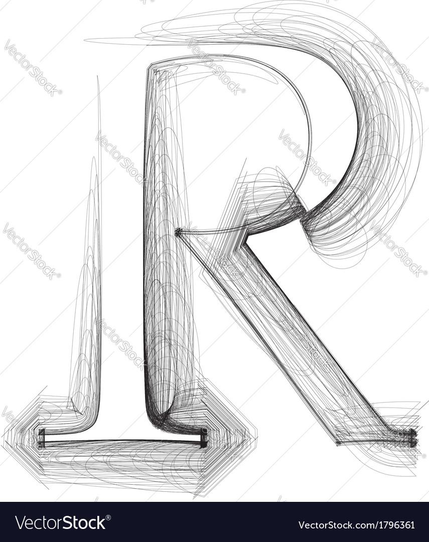 Sketch font letter r vector | Price: 1 Credit (USD $1)