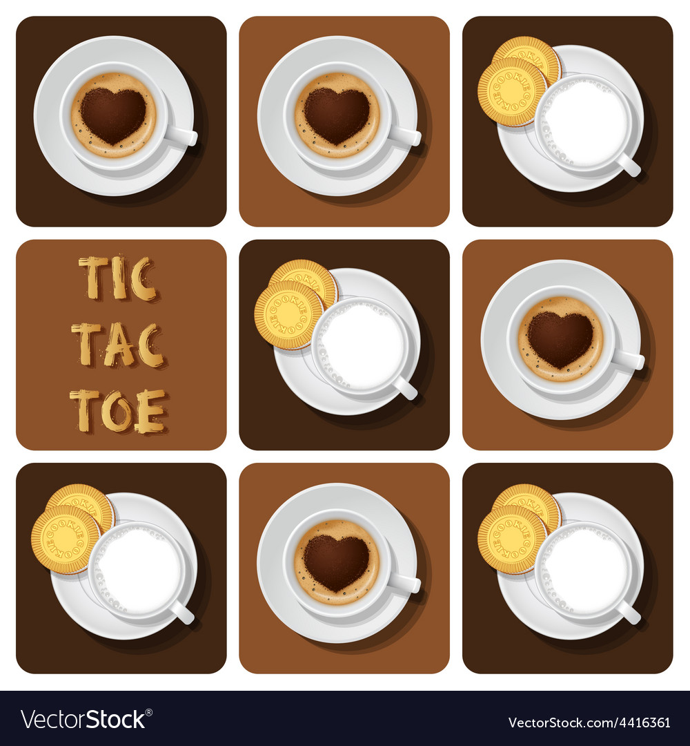 Tic-tac-toe of cappuccino and espresso vector | Price: 1 Credit (USD $1)