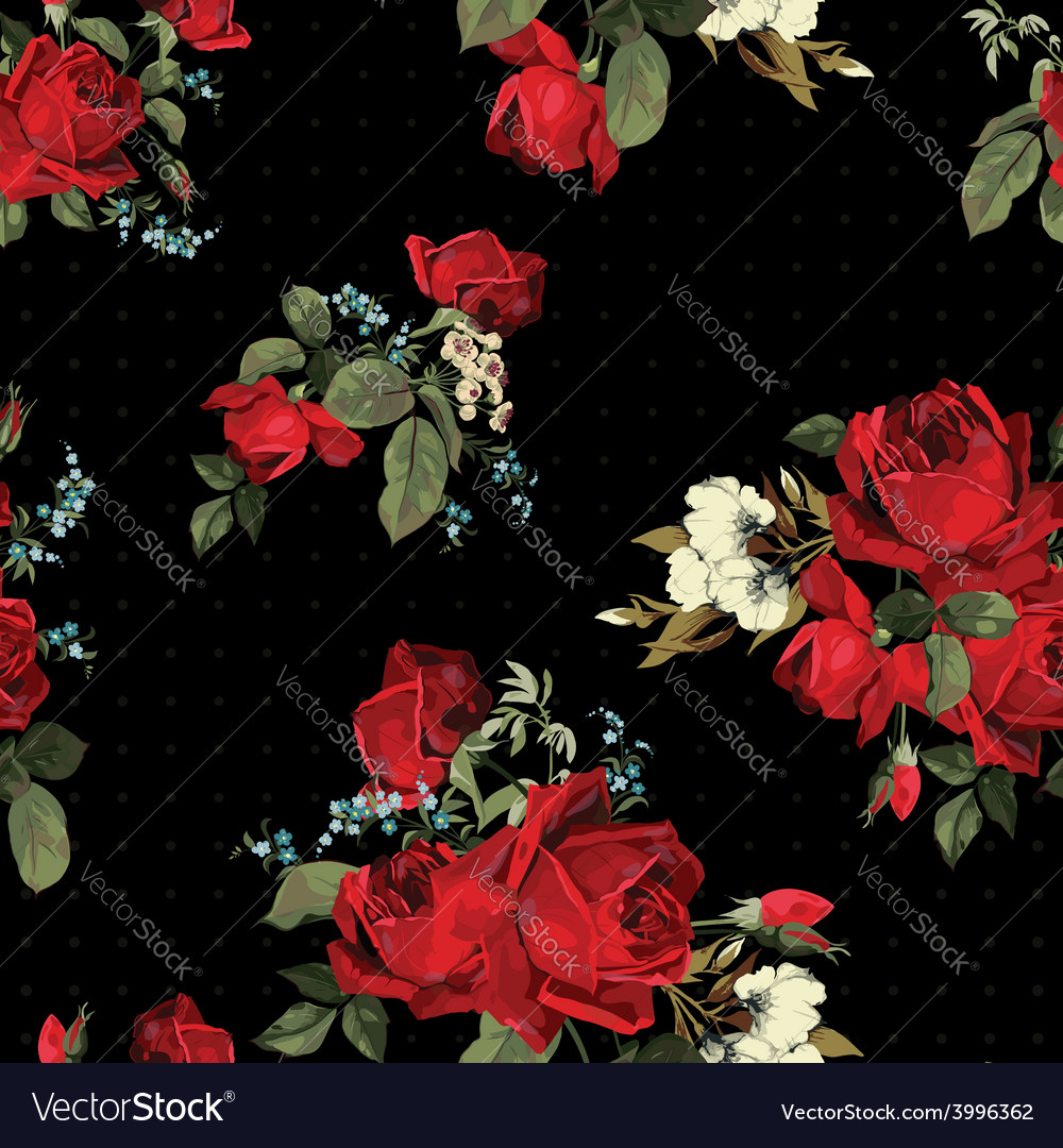 Abstract seamless floral pattern with red roses on vector | Price: 1 Credit (USD $1)