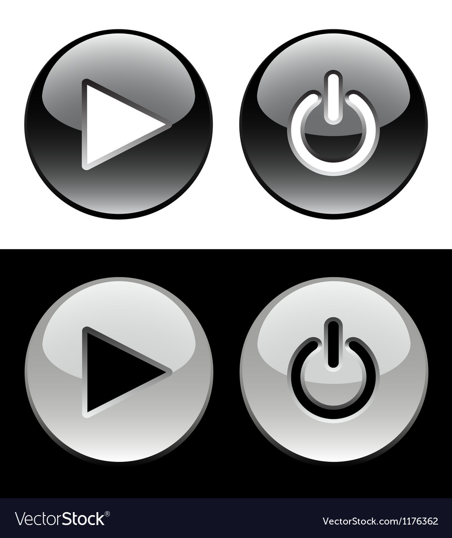 Black and white ring buttons vector | Price: 1 Credit (USD $1)
