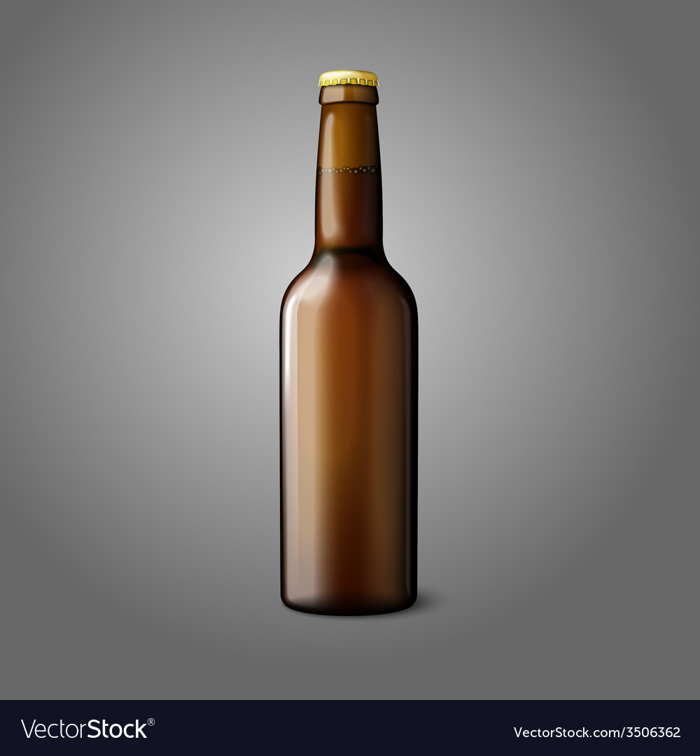 Blank brown realistic beer bottle isolated on grey vector | Price: 1 Credit (USD $1)