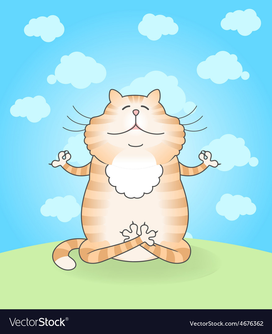Cat practicing yoga vector   Price: 1 Credit (USD $1)