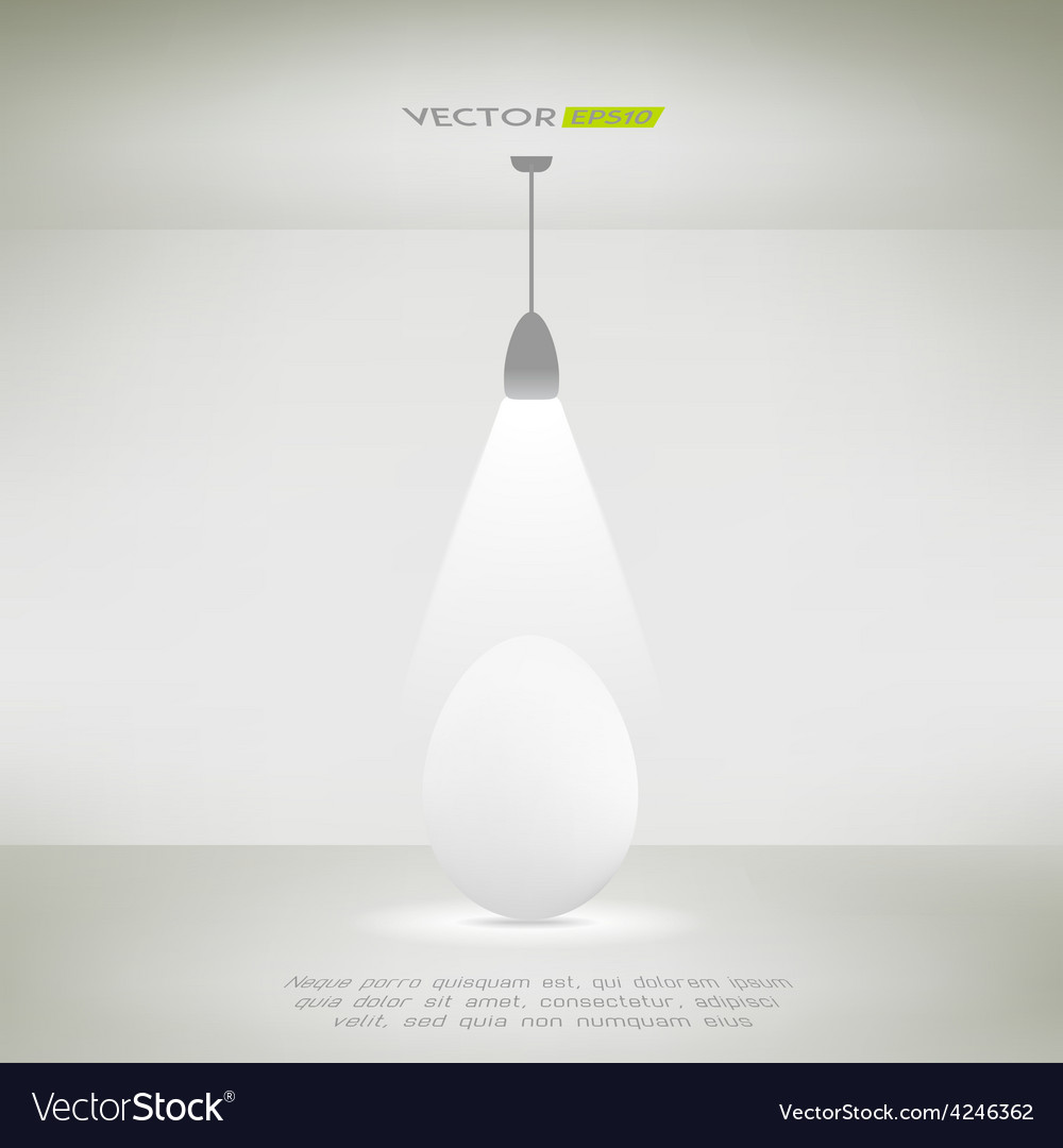 Ceiling lamp in a room illuminating an egg vector | Price: 1 Credit (USD $1)