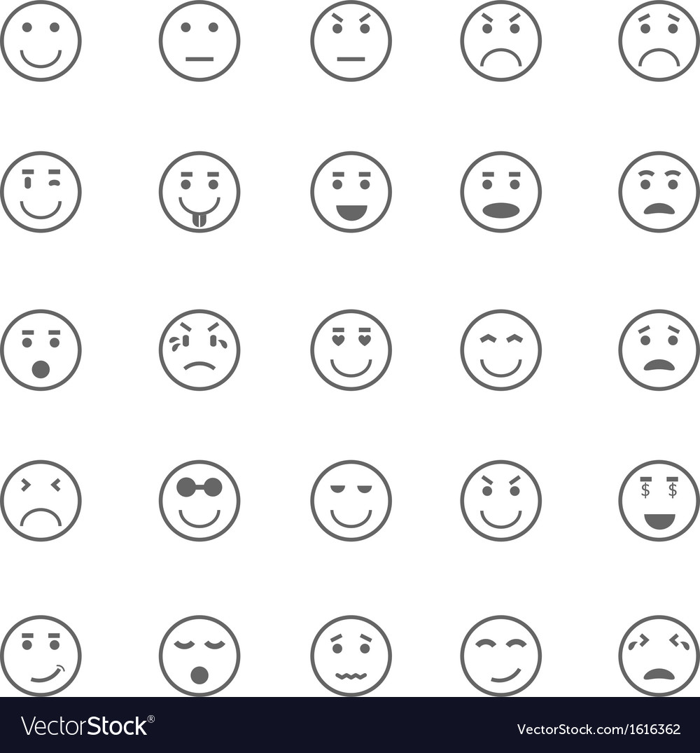 Circle face icons on white background vector | Price: 1 Credit (USD $1)