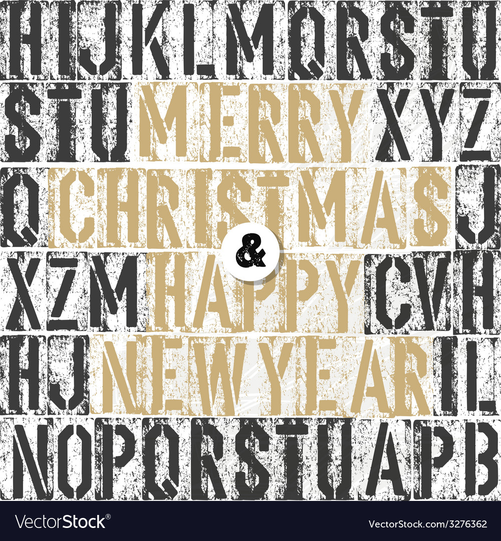 Merry christmas retro letterpress card vector | Price: 1 Credit (USD $1)