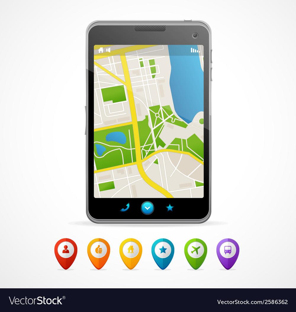 Mobile phone navigation set infographics vector | Price: 1 Credit (USD $1)