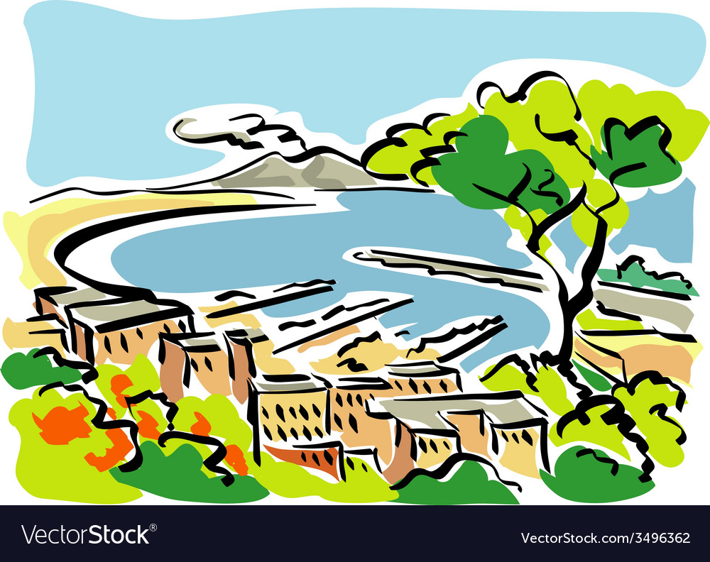 Naples gulf of naples vector | Price: 1 Credit (USD $1)