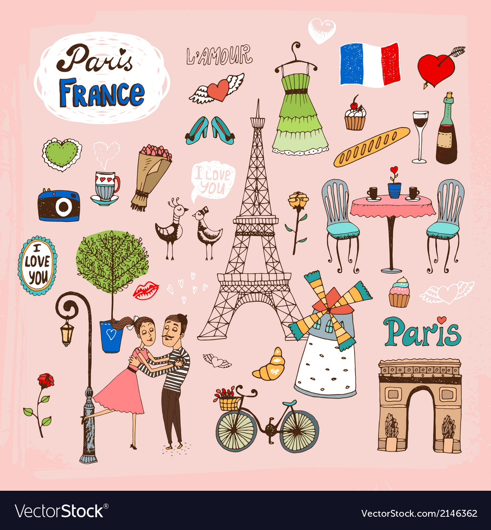 Paris france landmarks and icons vector | Price: 1 Credit (USD $1)