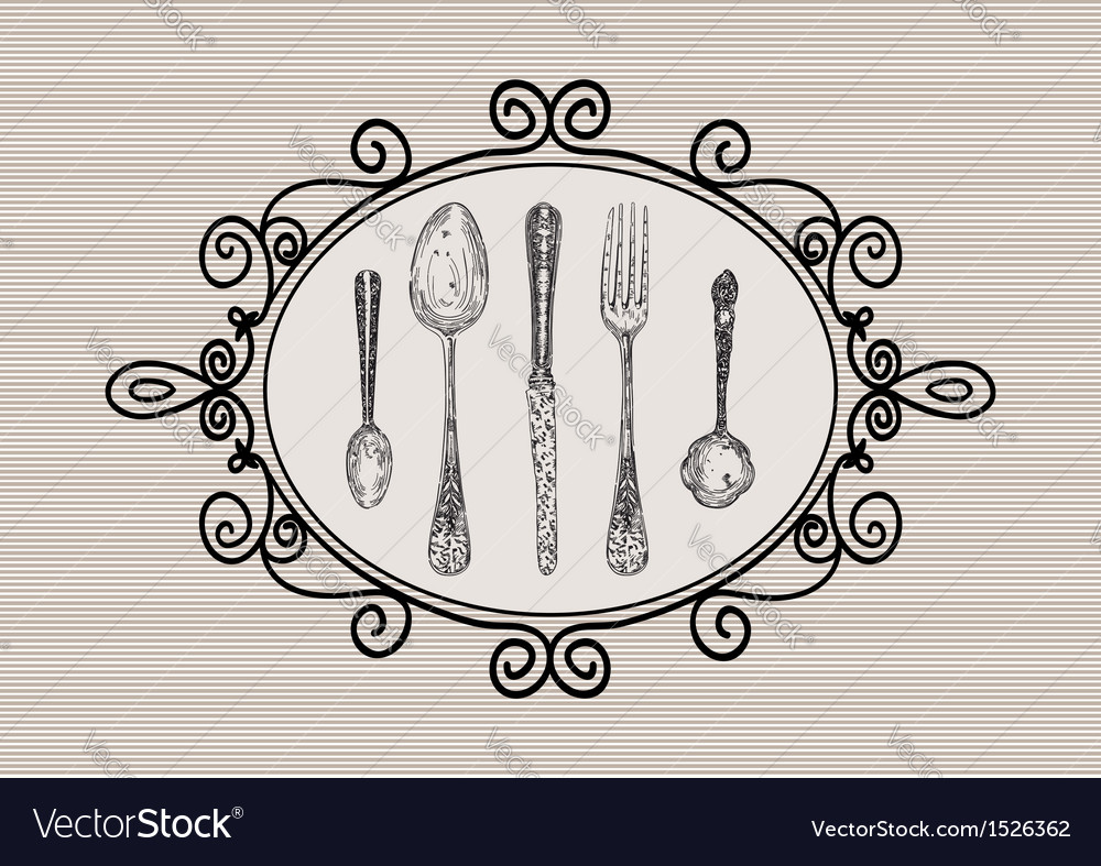 Retro cutlery elements sketch style set vector | Price: 1 Credit (USD $1)