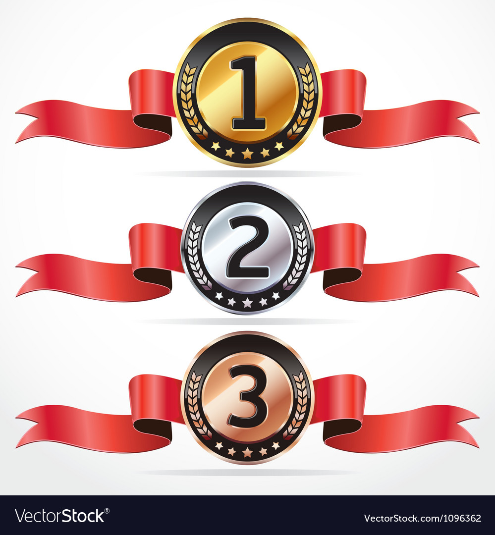Set of medal numbers with ribbon vector | Price: 3 Credit (USD $3)