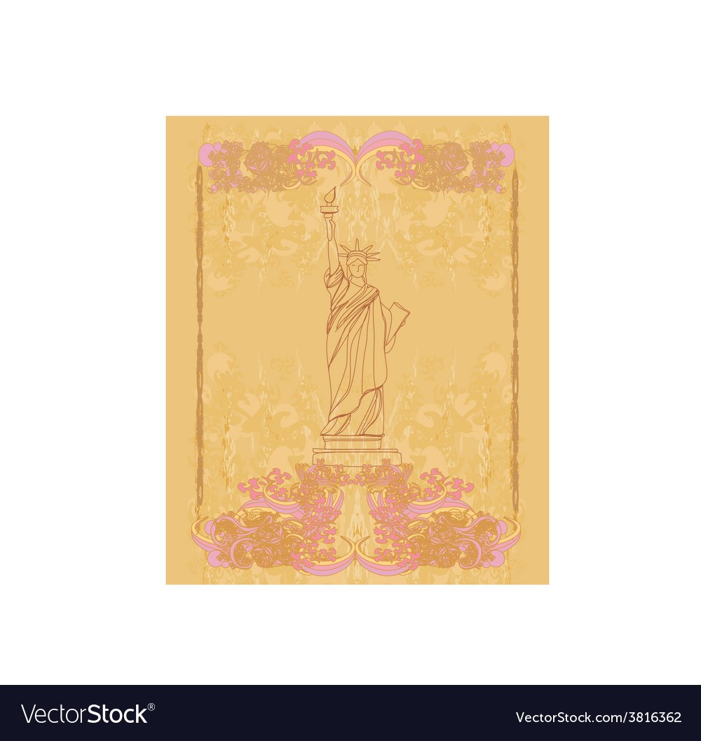 Statue of liberty - vintage paper vector | Price: 1 Credit (USD $1)