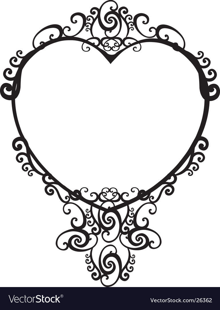 Vintage heart frame vector | Price: 1 Credit (USD $1)