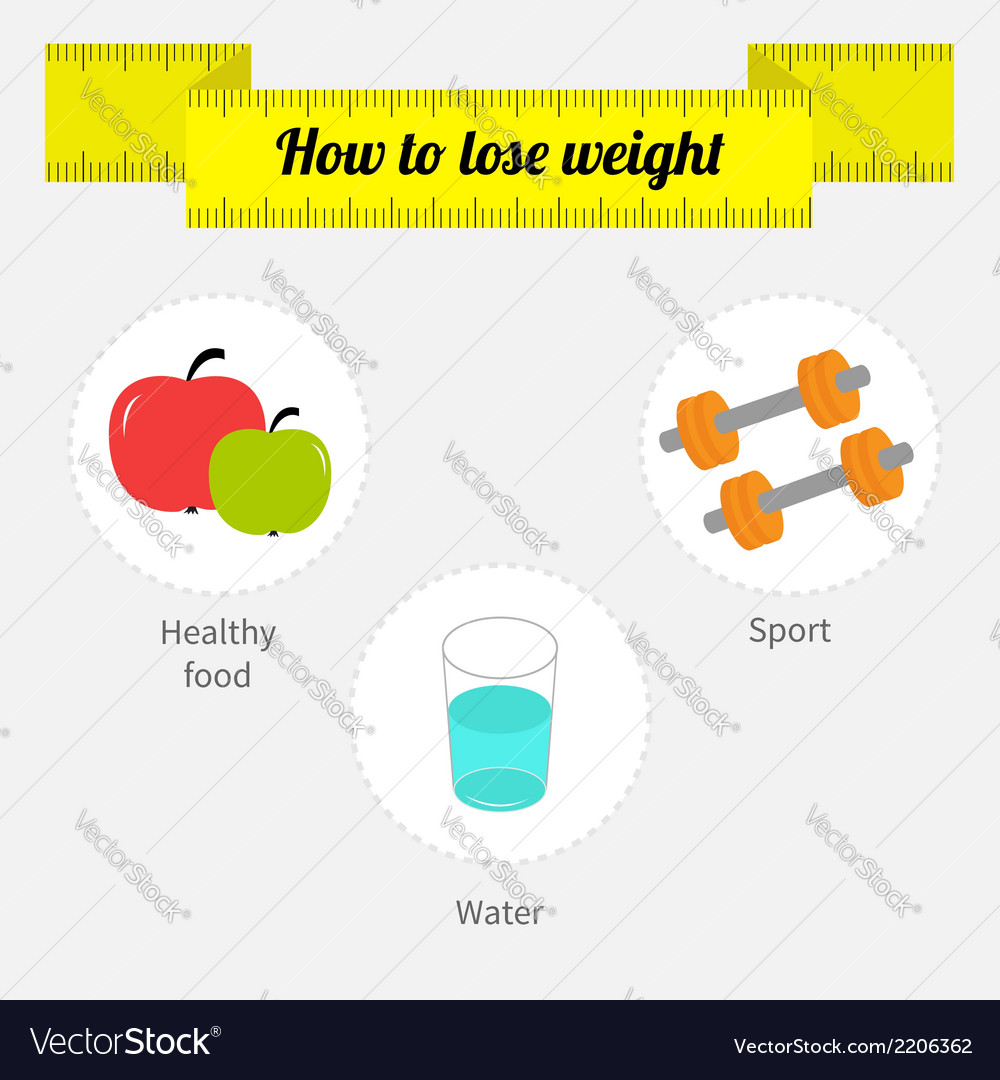 Weight loss infographic diet fitness drinking vector | Price: 1 Credit (USD $1)