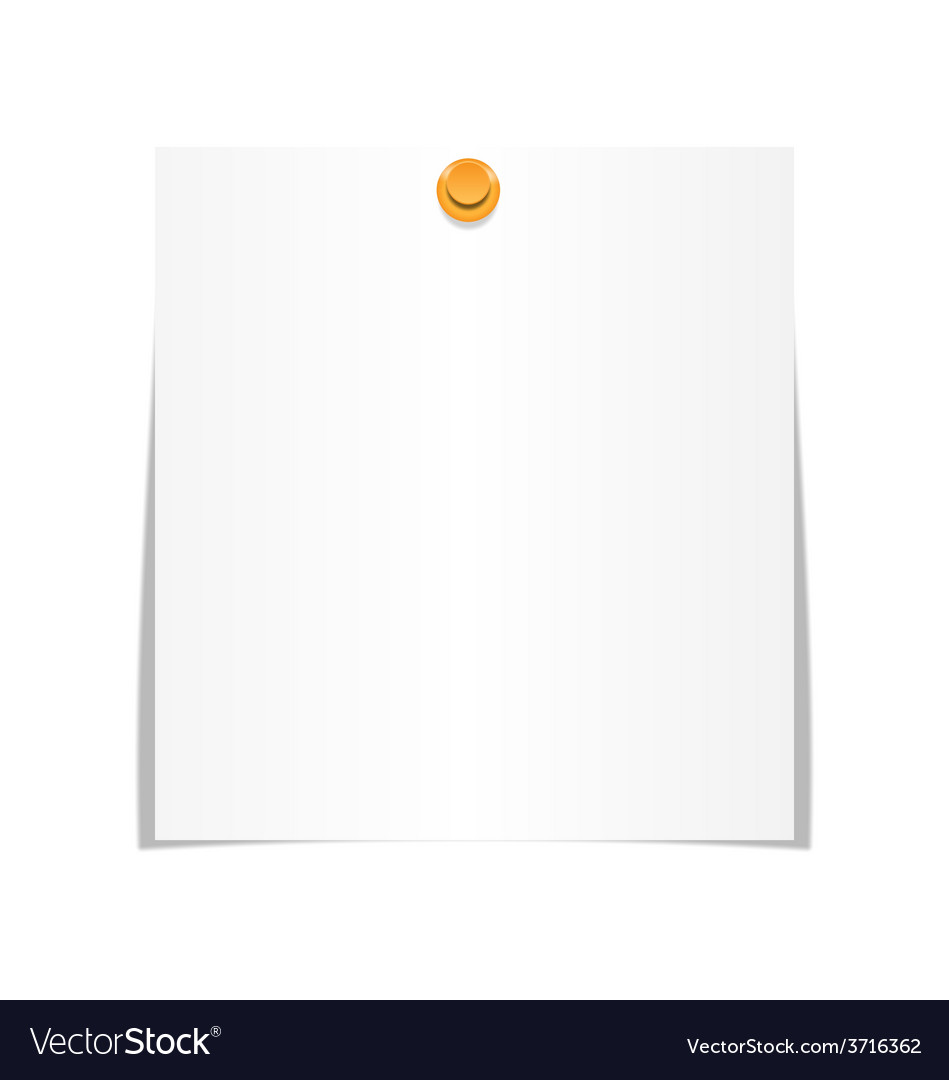 White paper sheet for memo with pin isolated on vector | Price: 1 Credit (USD $1)