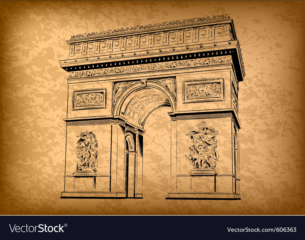 Arch of triumph on the brown background vector | Price: 1 Credit (USD $1)