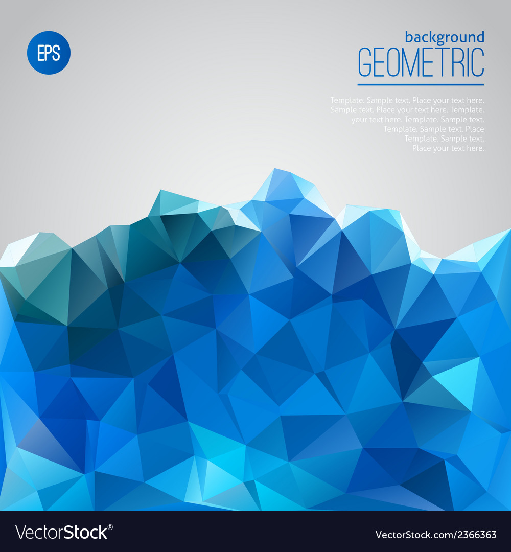 Blue mountain of triangles geometric template vector | Price: 1 Credit (USD $1)