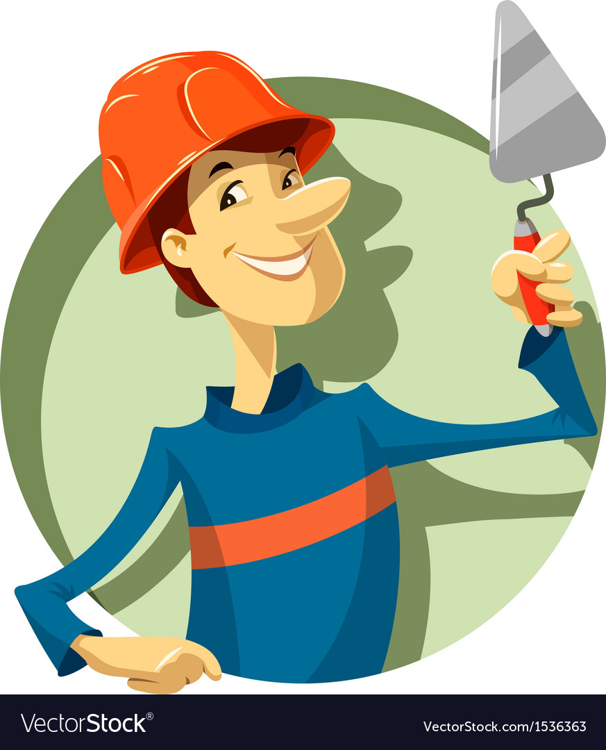 Builder with trowel vector | Price: 1 Credit (USD $1)