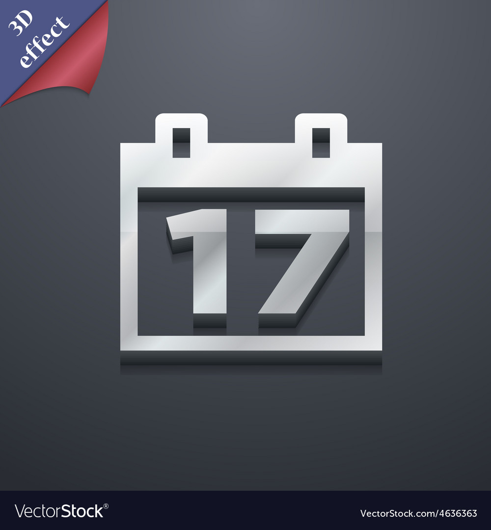 Calendar date or event reminder icon symbol 3d vector | Price: 1 Credit (USD $1)