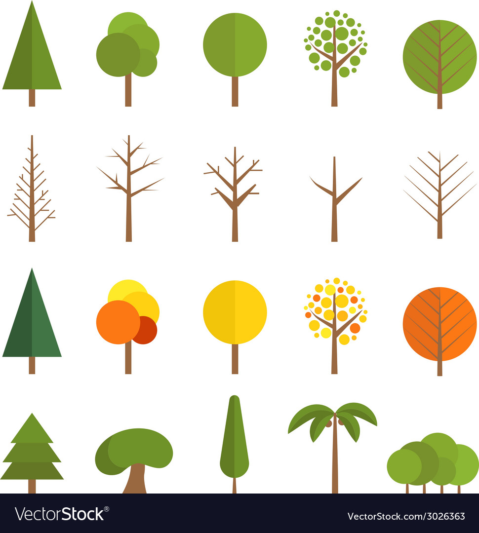 Different trees collection vector | Price: 1 Credit (USD $1)