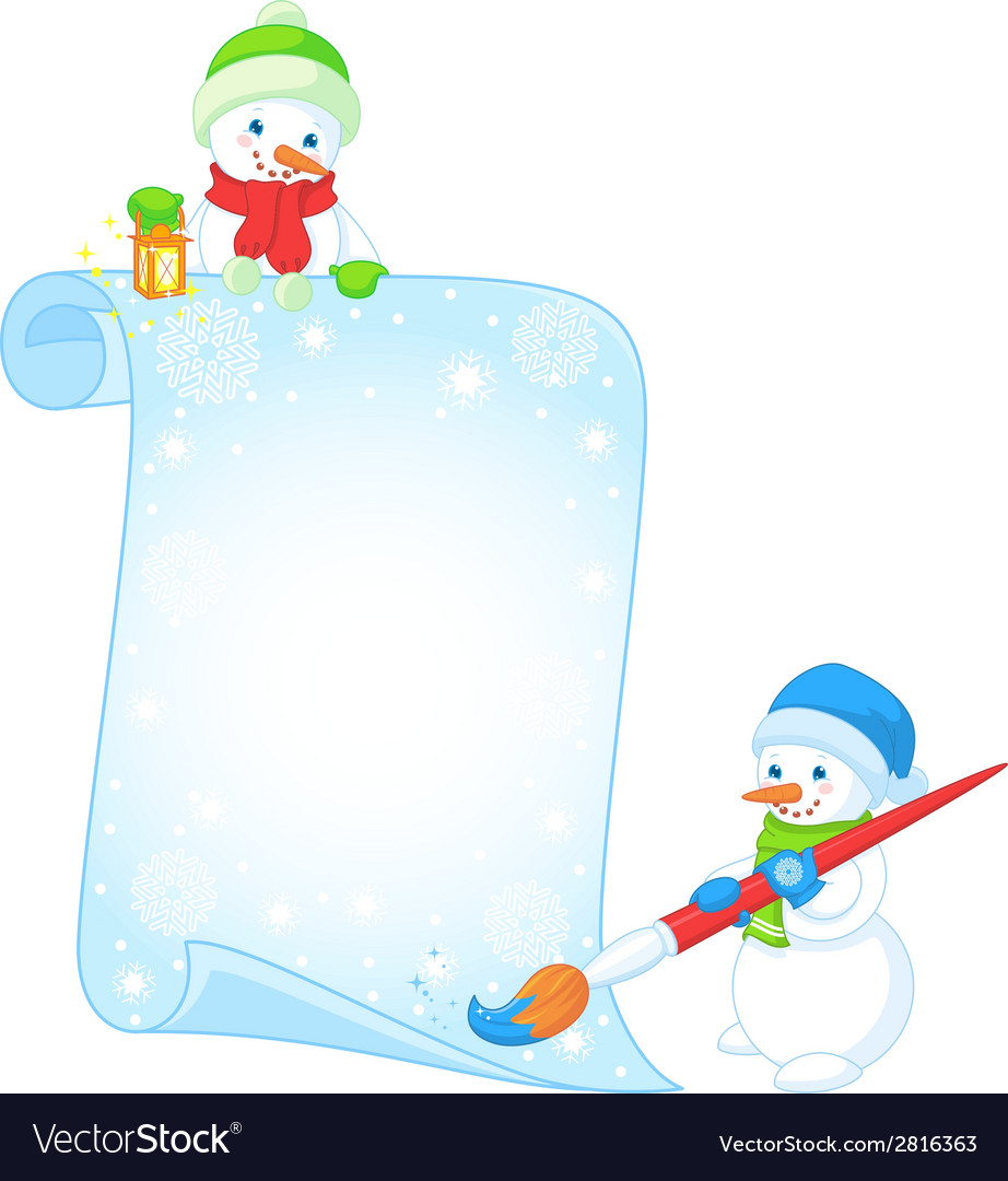Greeting with snowmen vector | Price: 1 Credit (USD $1)