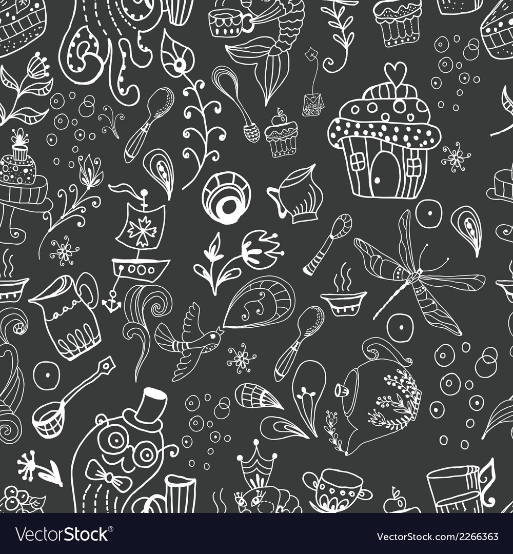 Seamless funny tea time background doodle vector | Price: 1 Credit (USD $1)
