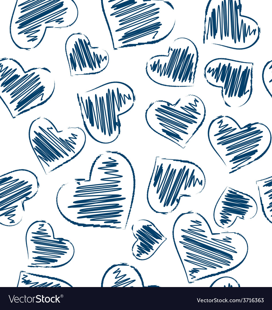 Seamless pattern of hand-drawn hearts isolated on vector | Price: 1 Credit (USD $1)