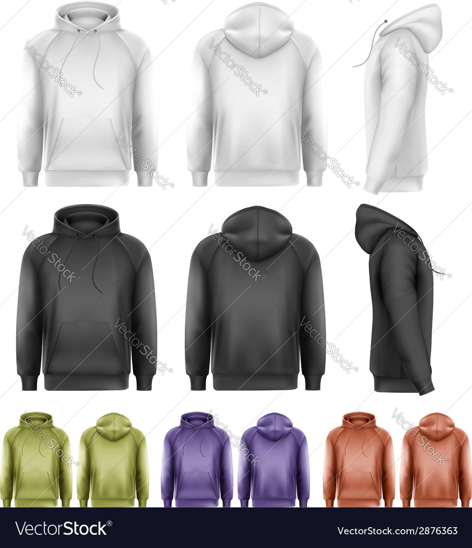 Set of different colored male hoodies vector | Price: 1 Credit (USD $1)
