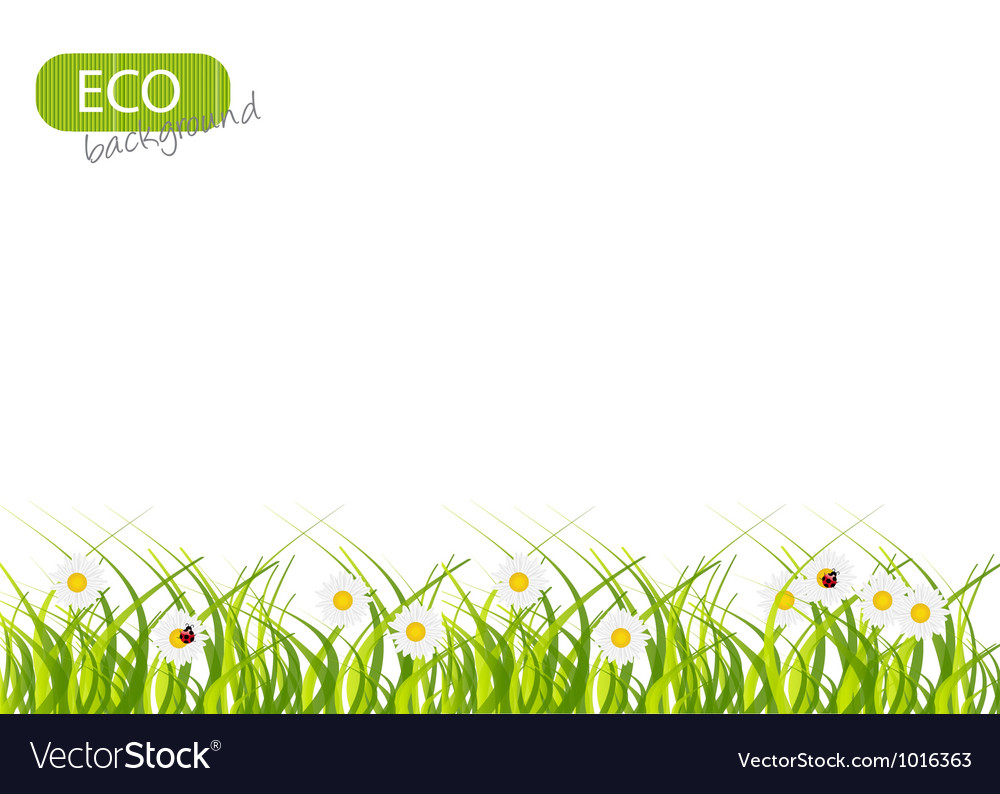 Spring green background grass and flower vector   Price: 1 Credit (USD $1)
