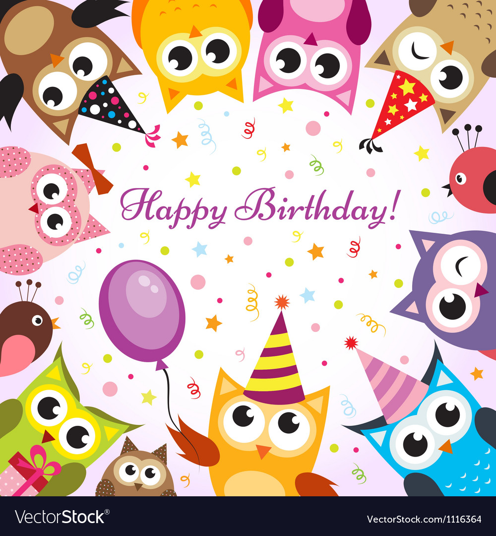 Birthday card with owls vector | Price: 1 Credit (USD $1)