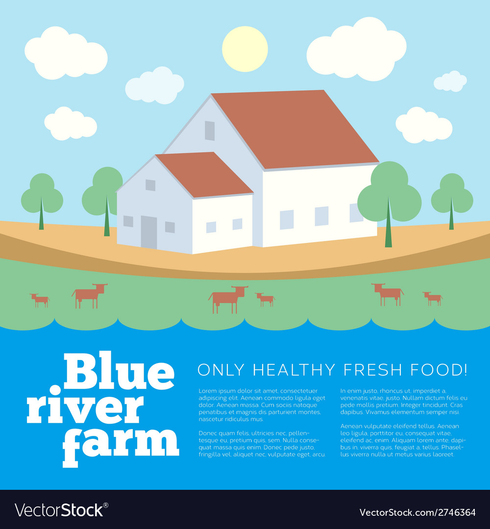 Blue river farm flat style background vector | Price: 1 Credit (USD $1)