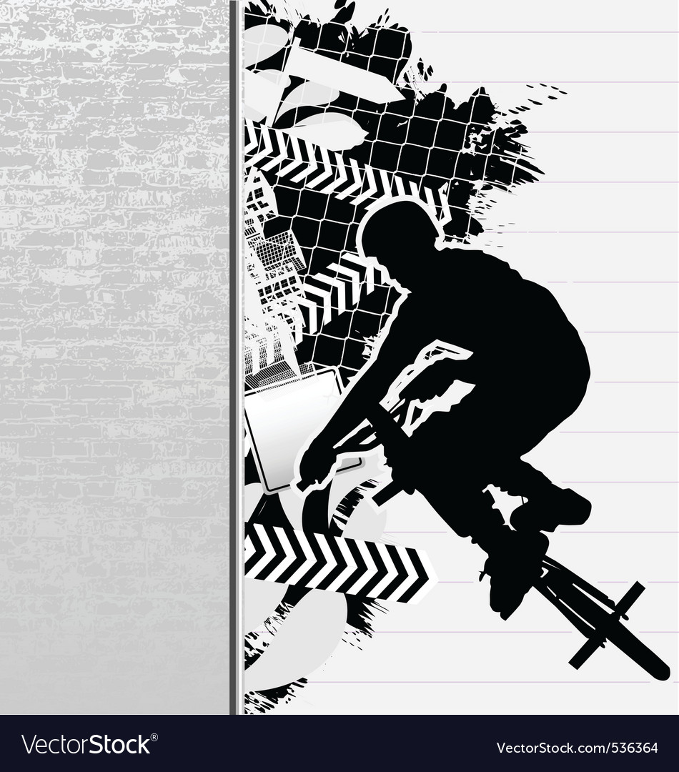 Bmx cyclist grunge poster vector | Price: 1 Credit (USD $1)
