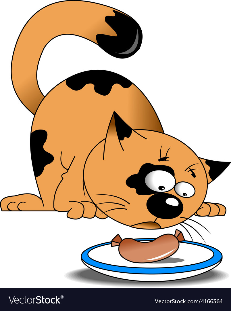 Cartoon cat eating sausage vector | Price: 1 Credit (USD $1)