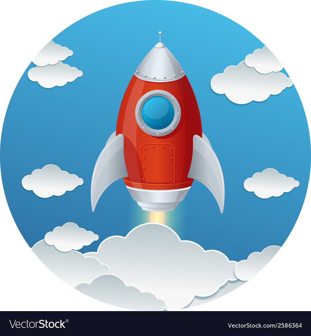 Cartoon retro iron rocket and clouds isolated vector | Price: 1 Credit (USD $1)