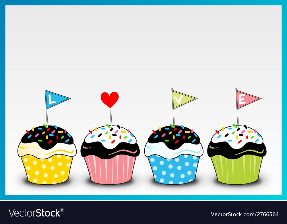 Cupcake 4 colour with love letter on it vector | Price: 1 Credit (USD $1)