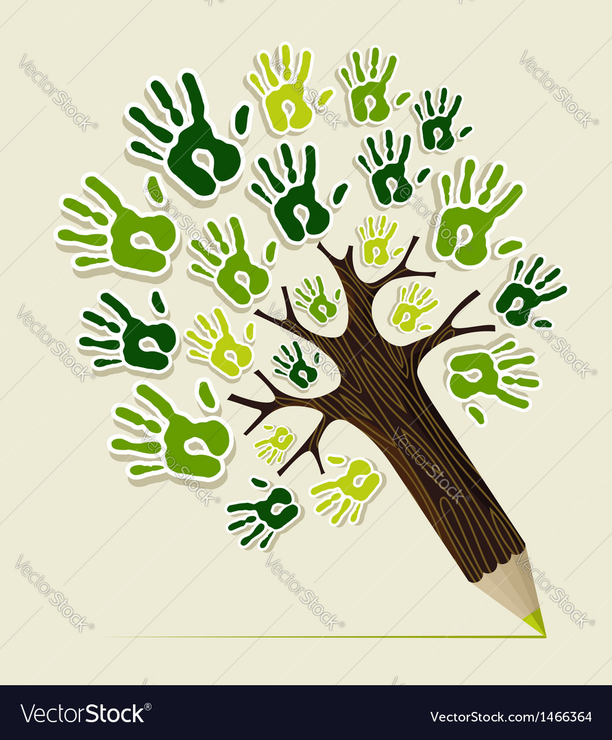 Eco friendly pencil tree hands vector | Price: 1 Credit (USD $1)