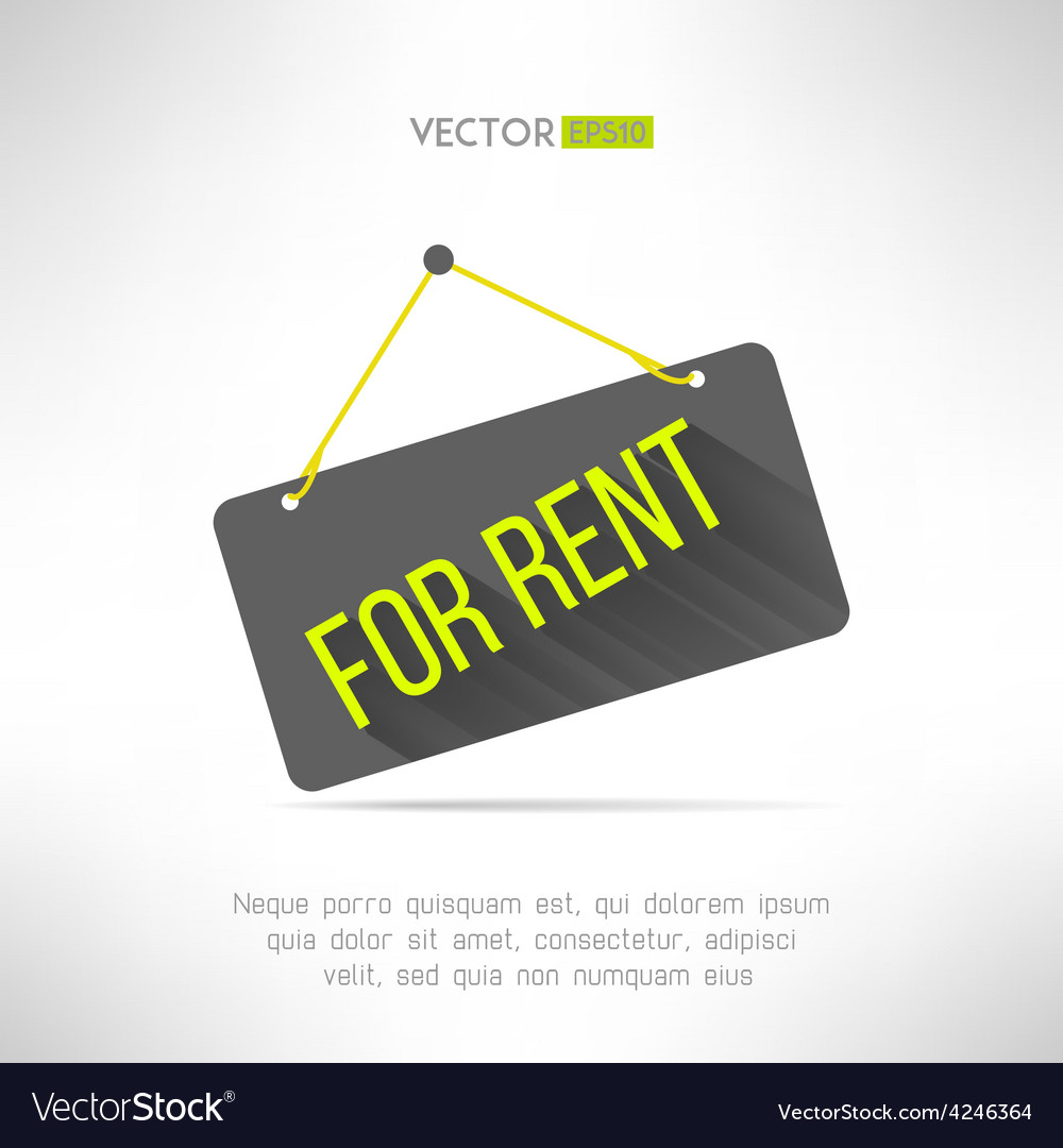 For rent sign made in modern flat design with long vector | Price: 1 Credit (USD $1)