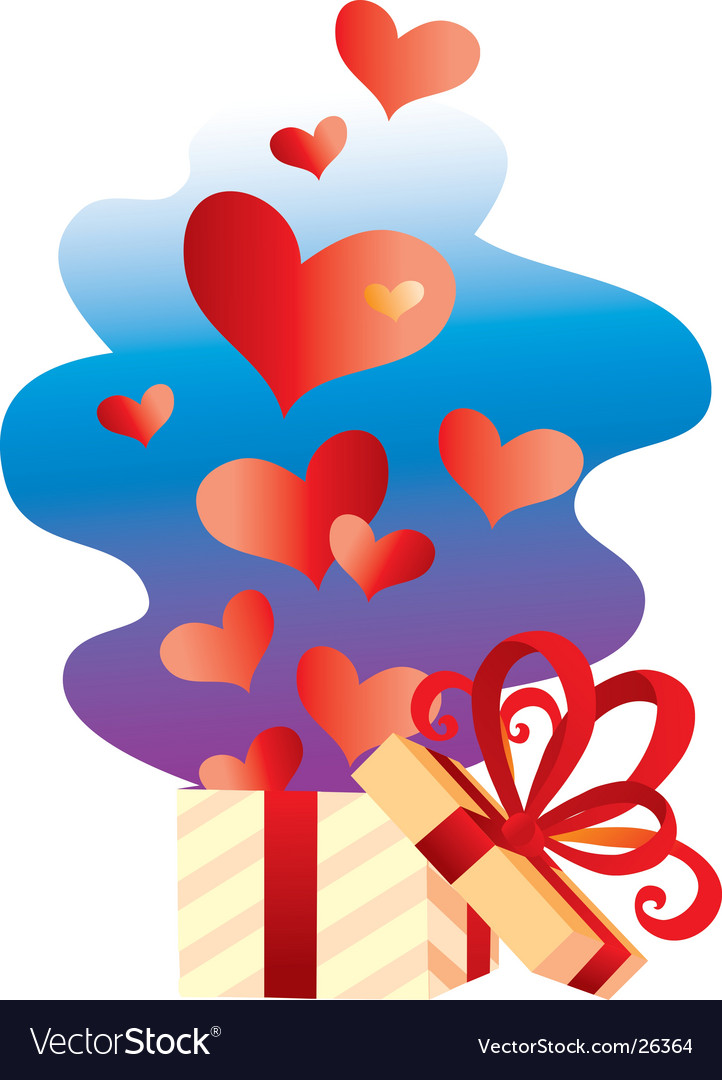 Gift with hearts vector   Price: 1 Credit (USD $1)