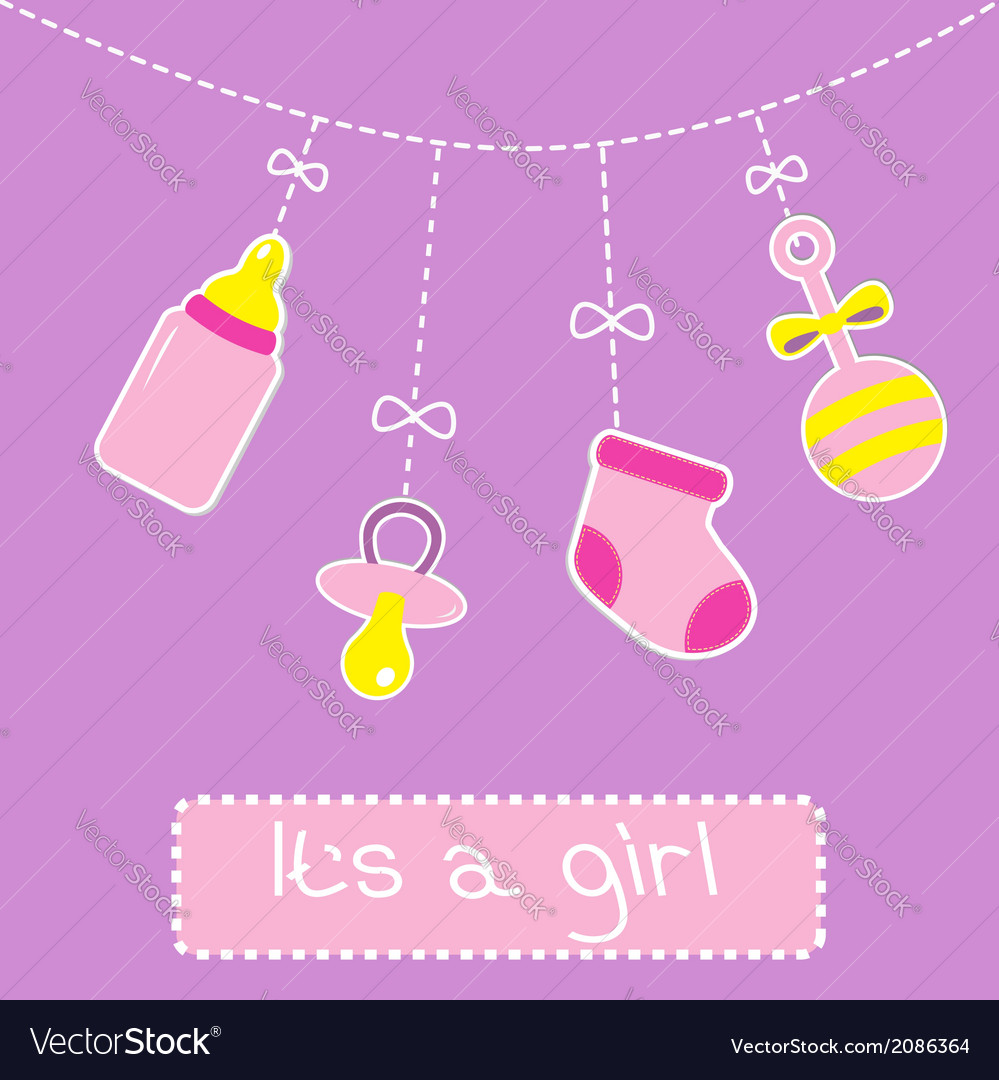 Hanging bottle pacifier rattle and sock baby girl vector | Price: 1 Credit (USD $1)