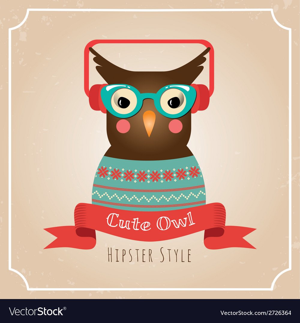 Hipster owl vector | Price: 1 Credit (USD $1)