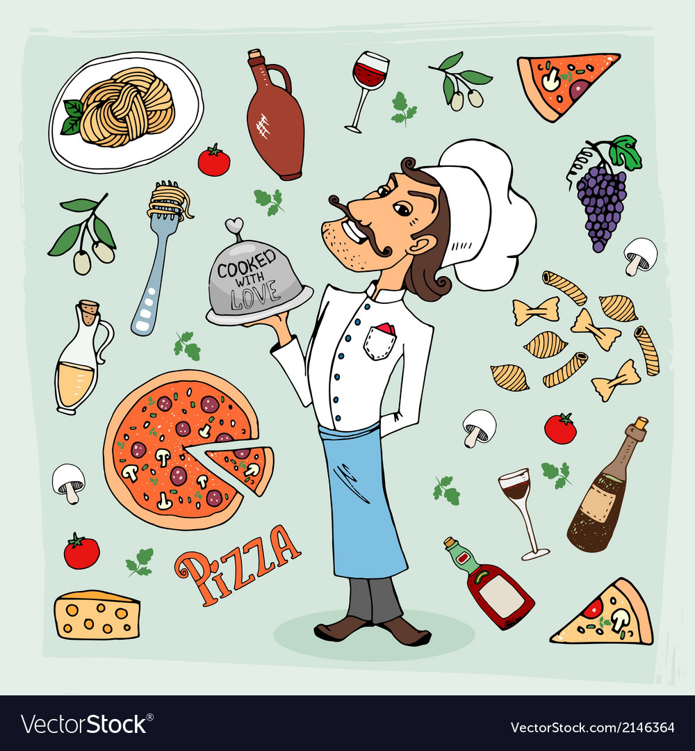 Italian cuisine and food hand-drawn vector | Price: 1 Credit (USD $1)