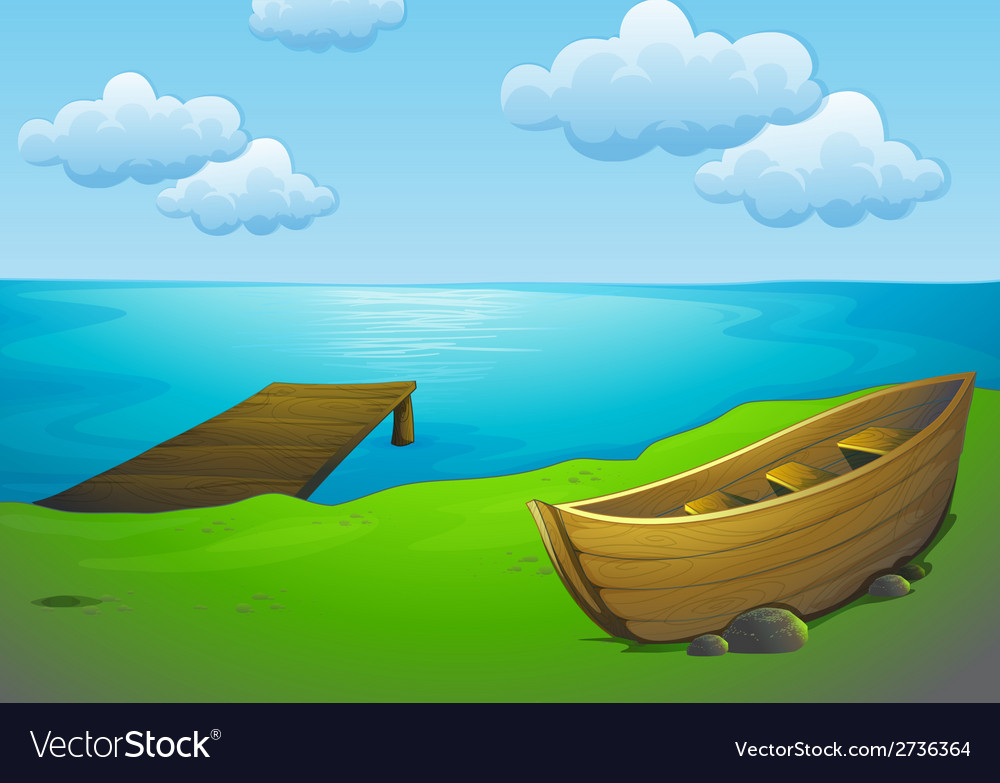 Lake and boat vector | Price: 1 Credit (USD $1)