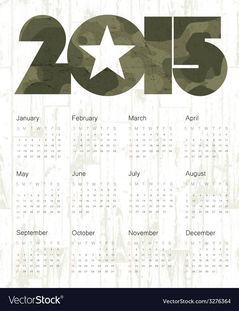 Military calendar 2015 vector | Price: 1 Credit (USD $1)