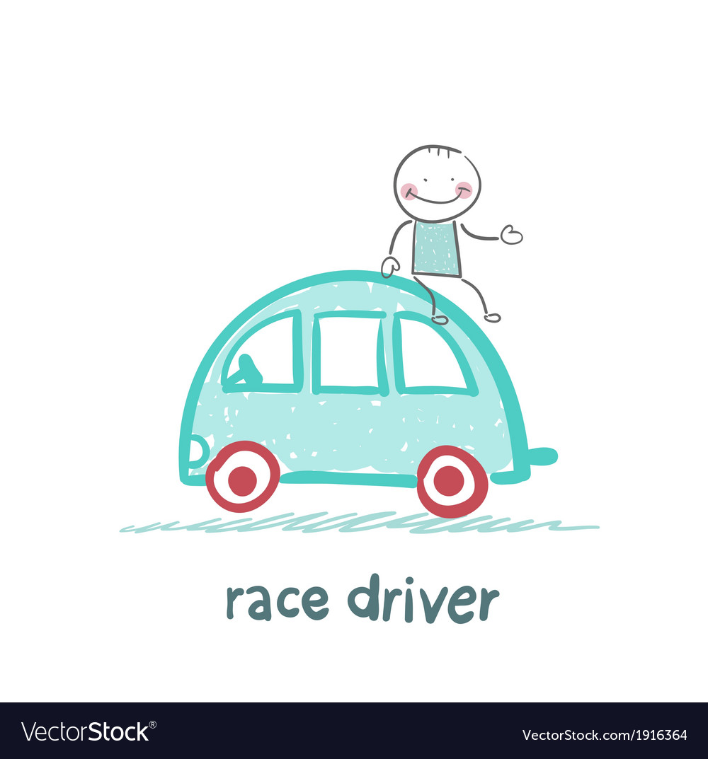 Race driver sits on the machine vector | Price: 1 Credit (USD $1)