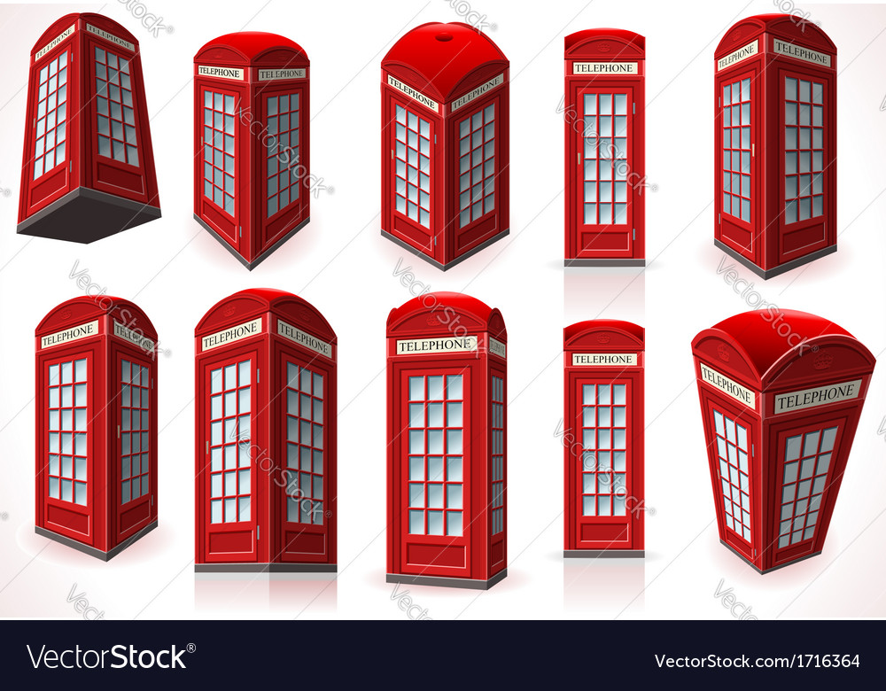Set of english red telephone cabin vector | Price: 1 Credit (USD $1)