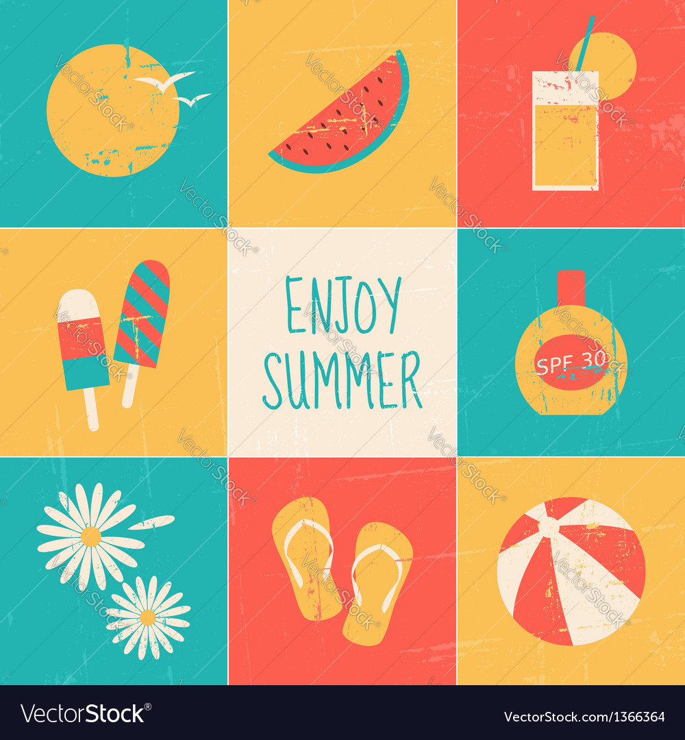 Summertime icons collection vector | Price: 1 Credit (USD $1)