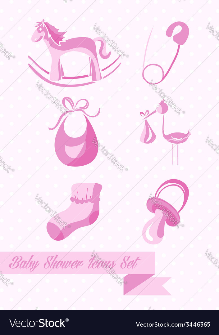Baby shower girl icons set design vector | Price: 1 Credit (USD $1)