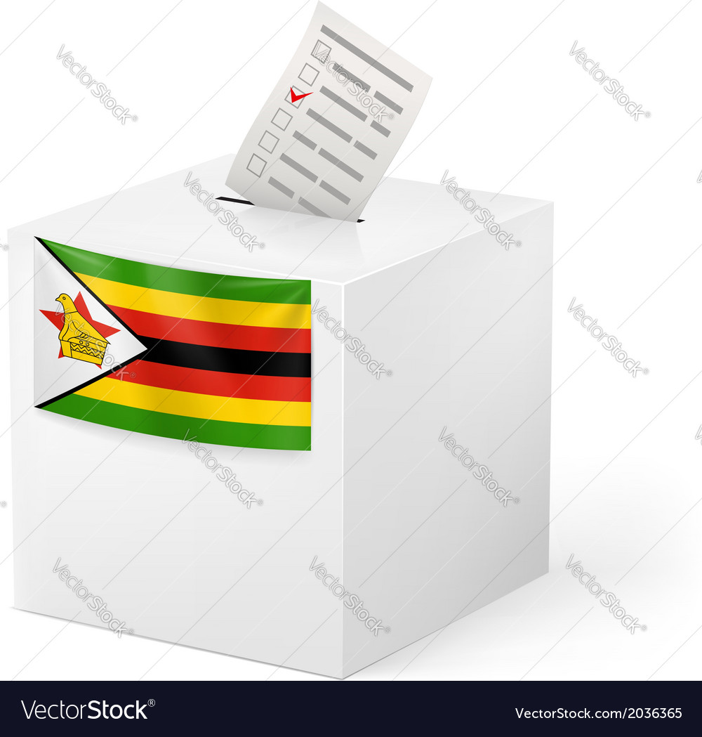 Ballot box with voting paper zimbabwe vector | Price: 1 Credit (USD $1)