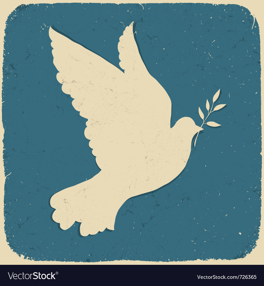 Dove of peace retro vector | Price: 1 Credit (USD $1)