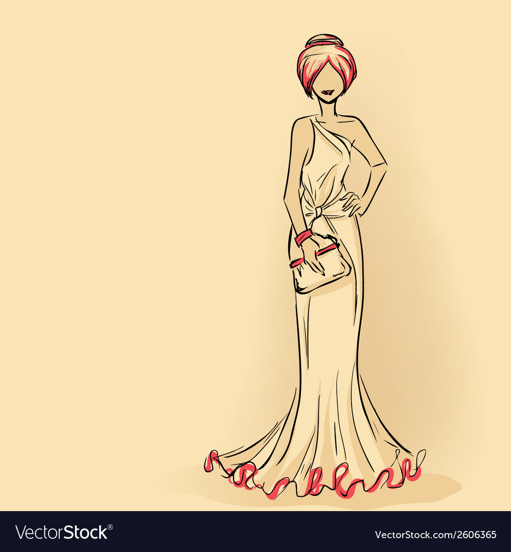 Elegant lady in evening dress with clutch vector | Price: 1 Credit (USD $1)